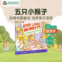 #美国进口 五只小猴子 Five Little Monkeys Jumping on the Bed 五只小猴蹦蹦跳【