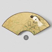 新中式客厅花鸟画扇形装饰画餐厅玄关挂画两联画 金丝小鸟