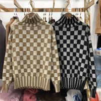 F8秋冬新韩版宽松高领毛衣女长袖套头格子加厚保暖针织打底衫0.55