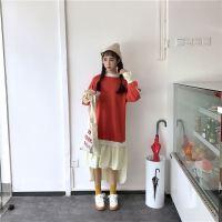 18春季新款版宽松个性连衣裙学院风假两件拼色中长款个性长袖