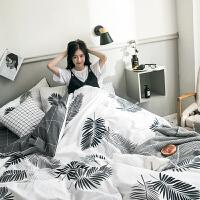 北欧纯棉四件套简约全棉裸睡床单床笠套件学生宿舍三件套床上用品