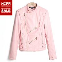 2017秋季新款女装夹克欧美风格粉色皮质短款pu皮衣修身小外套 粉色