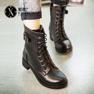【毅雅】女鞋新款秋冬季短靴马丁靴女英伦风粗跟加绒雪地棉鞋学生