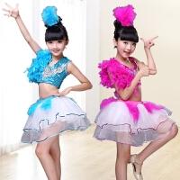 新款儿童爵士舞演出服蓬蓬裙亮片女孩舞蹈服现代舞古典