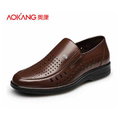 奥康 夏季透气鞋头层牛皮中年商务皮凉鞋正装男单鞋爸爸鞋
