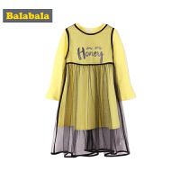 巴拉巴拉童装女童连衣裙小童宝宝裙子T恤秋装2018新款儿童网纱裙