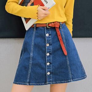七格格牛仔半身裙高腰女装春装新款chic百搭时尚a字裙包臀短裙夏