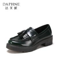 【11.11提前购2件2折】Daphne/达芙妮 旗下女鞋春季英伦时尚小皮鞋学院风一脚套女单鞋