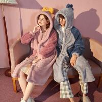 [直降]唐狮情侣睡衣秋冬新款珊瑚绒加厚连帽睡袍长款男女外穿家居服