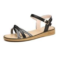 WARORWAR 法国YN38-925夏季韩版格子平底舒适女凉鞋