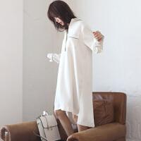 睡裙女春秋韩式白色睡衣宽松大码孕妇学生纯棉性感长袖家居服 均码