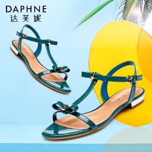 Daphne达芙妮 年夏季  蝴蝶结露趾一字扣女凉鞋1015303112