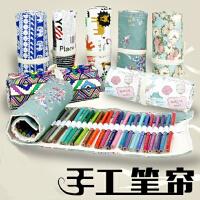 手工笔帘 棉麻帆布整理笔袋 72/48色手绘彩铅笔收纳袋