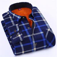 2017冬季新款男士保暖衬衫加绒加厚修身保暖上装长袖时尚格子衬衣