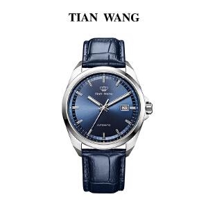天王表男士皮带自动机械手表 商务休闲防水时尚男表5977