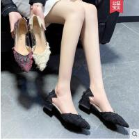 尖头单鞋女抖音同款粗跟时尚百搭韩版平底鞋子浅口女鞋