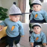 男女宝宝婴儿童衣服1岁6个月秋冬季套头加绒厚卫衣春秋季百搭上衣
