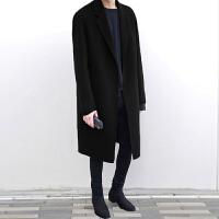 冬季韩版双面羊绒呢子大衣男中长款毛呢外套落肩男士羊毛呢大衣 浅米色(加棉) S