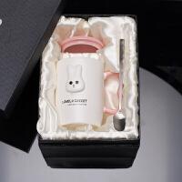 可爱女学生韩版陶瓷杯带盖勺创意潮流马克杯家用办公室咖啡牛奶杯 (礼盒装)粉色-大耳兔