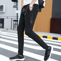 男裤秋冬新款加绒时尚哈伦裤男束口卫裤男休闲裤男修身运动裤 黑色 29黑色