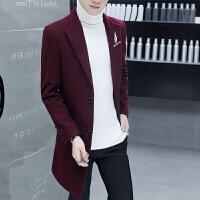 男士中长款风衣韩版春秋季羊毛呢子大衣冬季薄款过膝男装毛呢外套