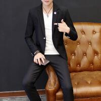 男士休闲西服套装 韩版休闲条纹西装发型师韩版修身小西装套