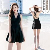佑游泳衣女泡温泉保守显瘦遮肚性感韩国新款连体裙式大码泳装