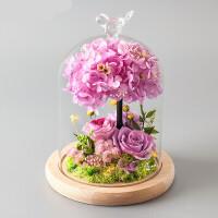 七夕干花花束永生花礼盒玻璃罩情人节长生鲜花玫瑰摆件生日礼物