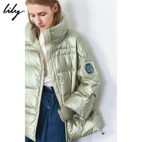 Lily2019冬新款女装时髦珠光金属亮面袖口螺纹高领宽松羽绒服3947