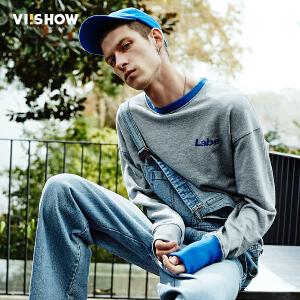 VIISHOW春装新款卫衣男字母印花圆领上衣套头纯色青年外套