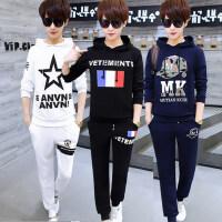 时尚潮男套头连帽卫衣套装韩版运动男装 新款青少年学生潮流两件套休闲套装