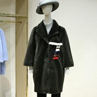 羊剪绒大衣女冬装新款 韩版中长款撞色拼貂皮草外套
