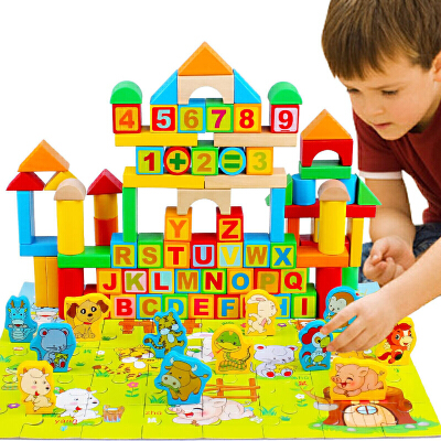 十二生肖字母儿童积木玩具3岁以上数字实木积木制