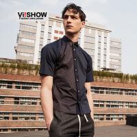 viishow夏装新款短袖衬衫 欧美时尚纯棉短袖衬衣男 拼色衬衫