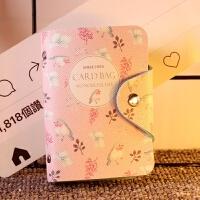 韩国清新卡通水果卡包多卡位大容量学生卡套防消磁*夹零钱包 花-粉 卡包