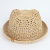 宝宝帽子儿童猫耳朵棉线草帽遮阳太阳帽盆帽渔夫帽出游沙滩帽