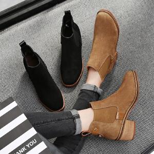 毅雅2017秋冬短靴牛反绒皮磨砂平底低跟英伦风马丁靴粗跟复古侧拉链