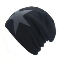 韩版冬天帽子男毛线帽五角星针织帽加绒保暖套头帽加厚包头帽青年