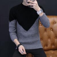 秋冬季粗棒针毛线衣男士韩版修身拼色潮流个性圆领毛衣加厚针织衫