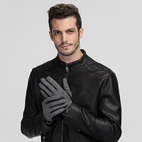 男士秋冬季骑行户外全指触屏手套加厚保暖羊毛手套开车手套