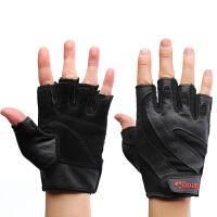 健身手套男士 健身房半指运动手套锻练哑铃举重护腕防滑耐磨 黑色