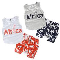 夏装韩版新款字母长颈鹿男童装宝宝儿童背心短裤套装