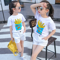 女童短袖t恤夏季纯棉上衣儿童印花打底衫中大童半袖