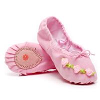 儿童舞蹈鞋跳舞鞋女孩芭蕾舞鞋猫爪鞋花朵表演舞台鞋宝宝软底鞋