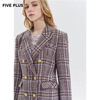 Five Plus新款女冬装格子双排扣西装女中长款外套bf收腰长袖翻领