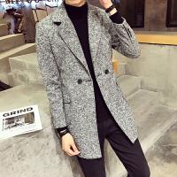 男士毛呢大衣中长款风衣男韩版潮修身秋冬装英伦呢子外套男装衣服 灰色 M