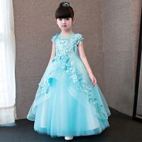 女童公主裙主持人蓬蓬裙拖尾夏 儿童晚礼服模特走秀表演服花童礼服