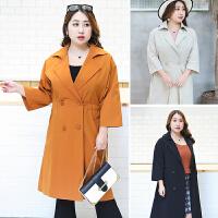 胖妹妹特大码七分袖韩版风衣女中长款宽松2018新款加肥西装领外套