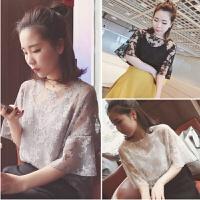 韩观春夏新款女装宽松显瘦百搭短袖蕾丝雪纺衫上衣吊带背心学生两件套