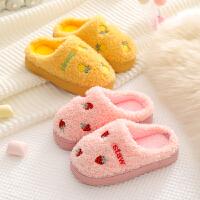 儿童棉拖鞋冬男女童宝宝室内居家防滑卡通毛绒包跟小孩水果棉拖鞋